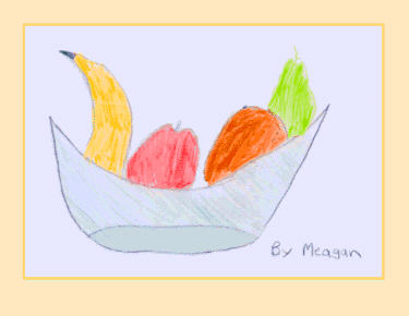 Pencil drawing of a bowl  of fruit