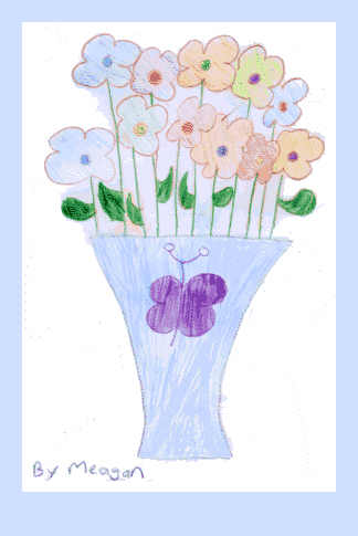 Flowers in a blue vase - pencil drawing by Meagan