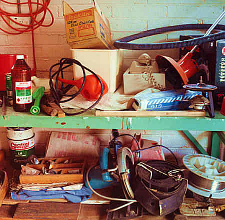 Untidy suburban garage