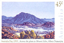 Across the plane to Mount Giles - painting by Albert Namatjira
